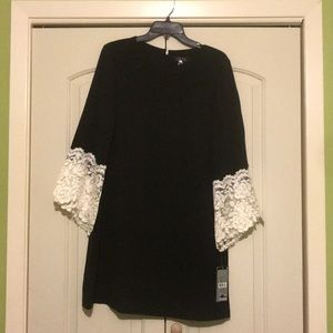 Black Dress with Lace bell sleeve